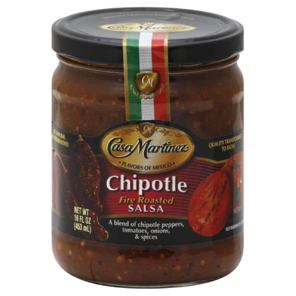 Casa Martinez Medium Chipotle Fire Roasted Salsa, 16 Oz (Pack of 6)