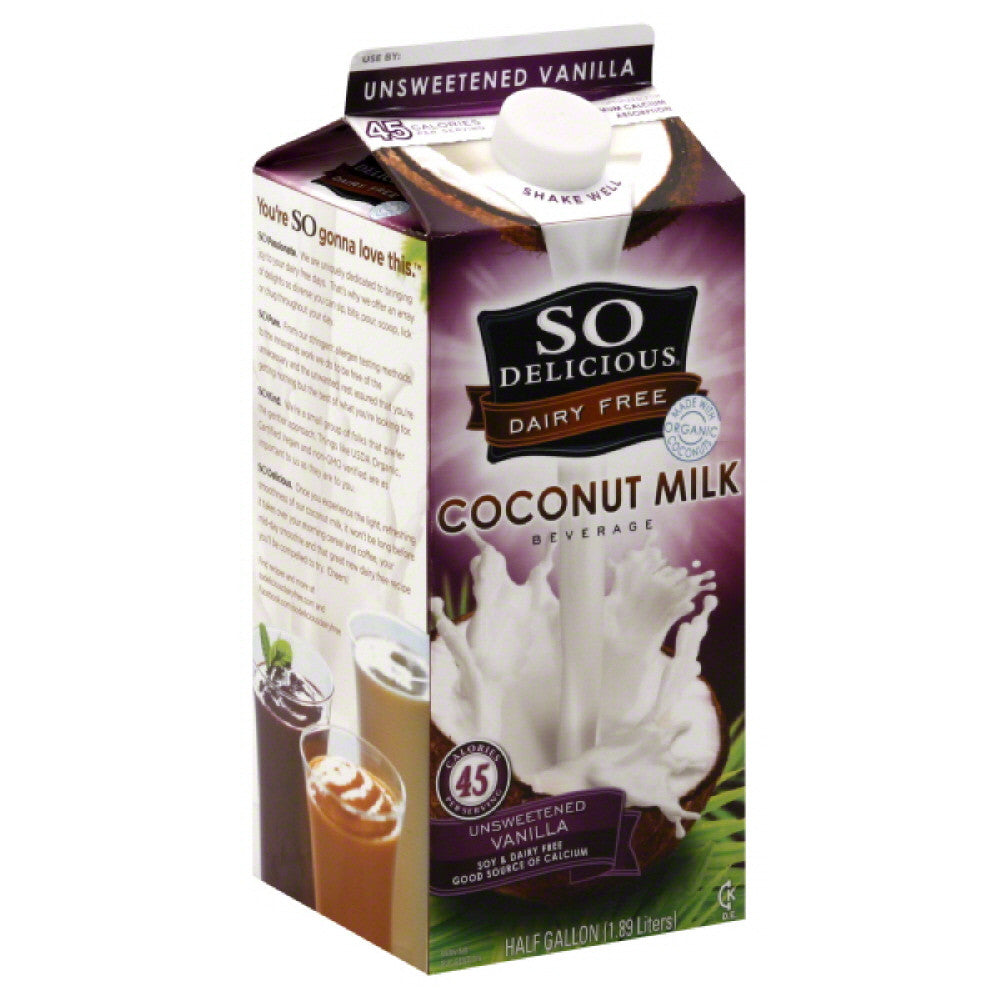 So Delicious Unsweetened Vanilla Dairy Free Coconut Milk Beverage, 1.89 Lt (Pack of 6)