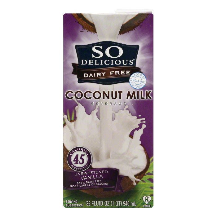 So Delicious Coconut Milk Beverage Unsweetened Vanilla, 32 FO (Pack of 12)