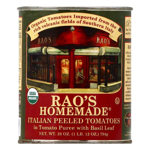 Raos in Tomato Puree with Basil Leaf Italian Peeled Tomatoes, 28 OZ (Pack of 12)