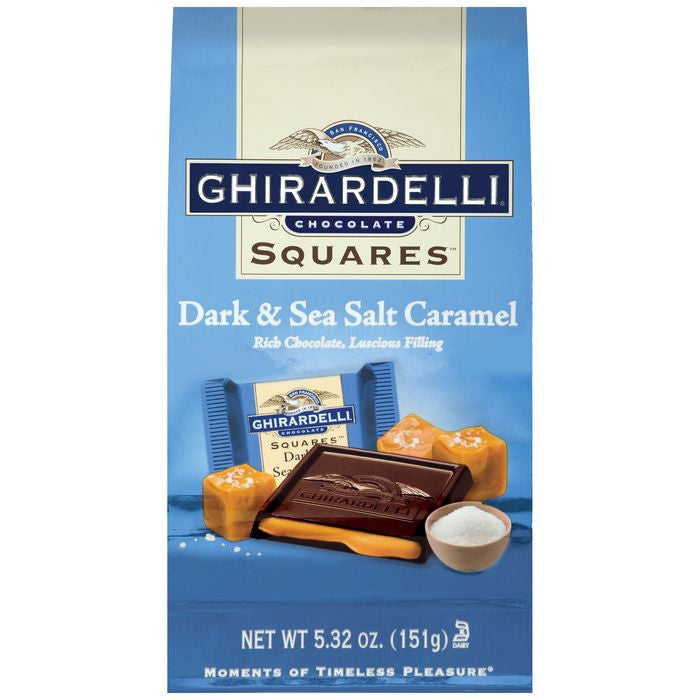 Ghirardelli Chocolate Squares Dark & Sea Salt Caramel 5.32 oz (Pack of 12)