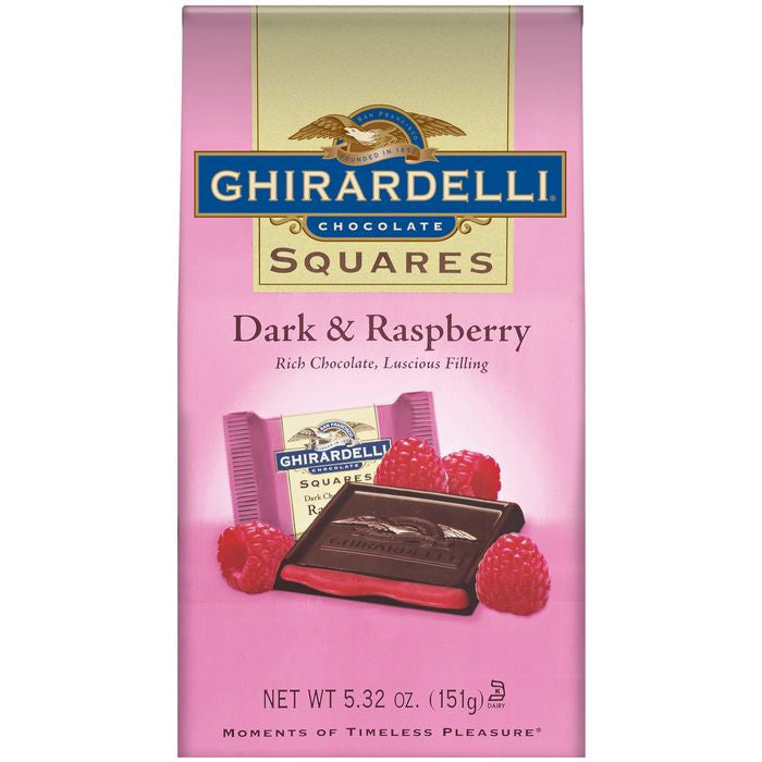 Ghirardelli Chocolate Squares Dark & Raspberry Chocolate 5.32 Oz Stand Up Bag (Pack of 12)
