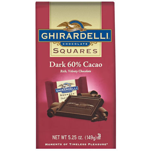 Ghirardelli Chocolate Squares Dark Chocolate 60% Cacao Chocolate 5.25 Oz Stand Up Bag (Pack of 12)