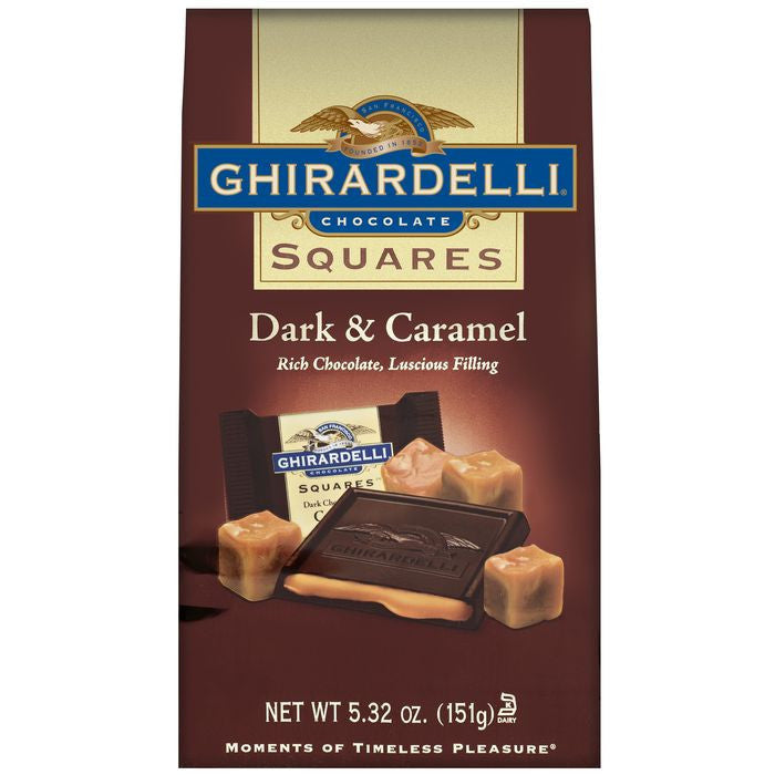 Ghirardelli Chocolate Squares Dark & Caramel Chocolate 5.32 Oz Stand Up Bag (Pack of 12)