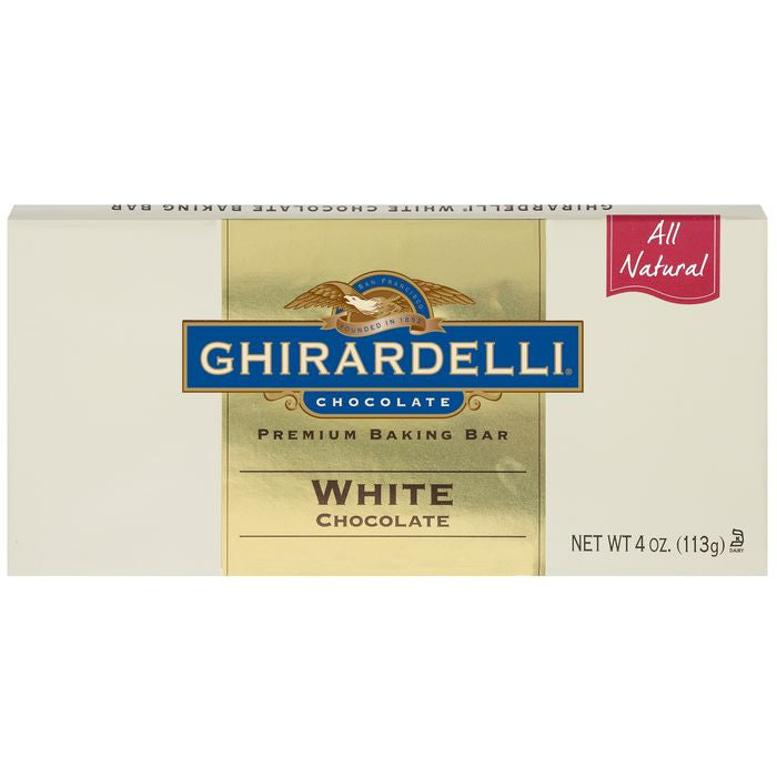 Ghirardelli Chocolate White Chocolate Baking Bar 4 Oz Bar (Pack of 12)