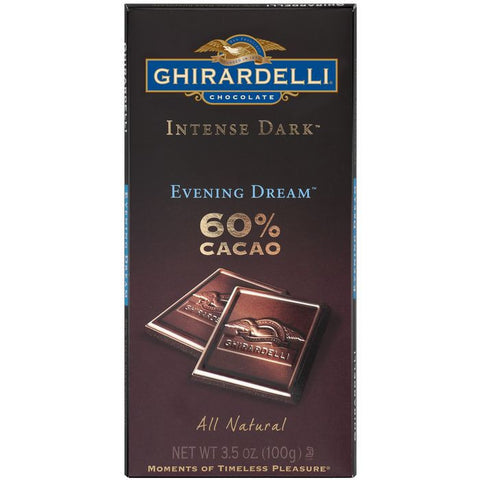 Ghirardelli Chocolate Intense Dark Evening Dream 60% Cacao Chocolate 3.5 Oz Bar (Pack of 12)