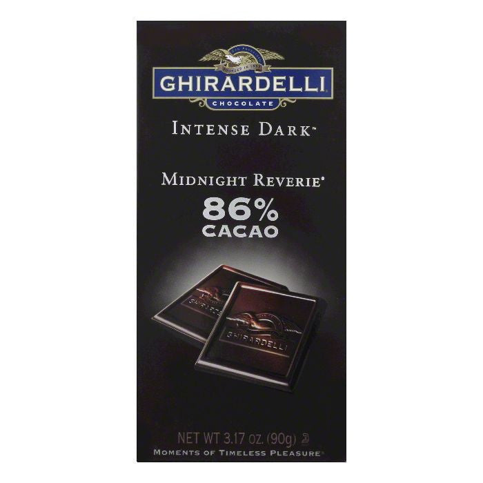Ghirardelli Dark Chocolate 86 Percent Midnight Rendevous Intense Bar, 3.17 OZ (Pack of 12)