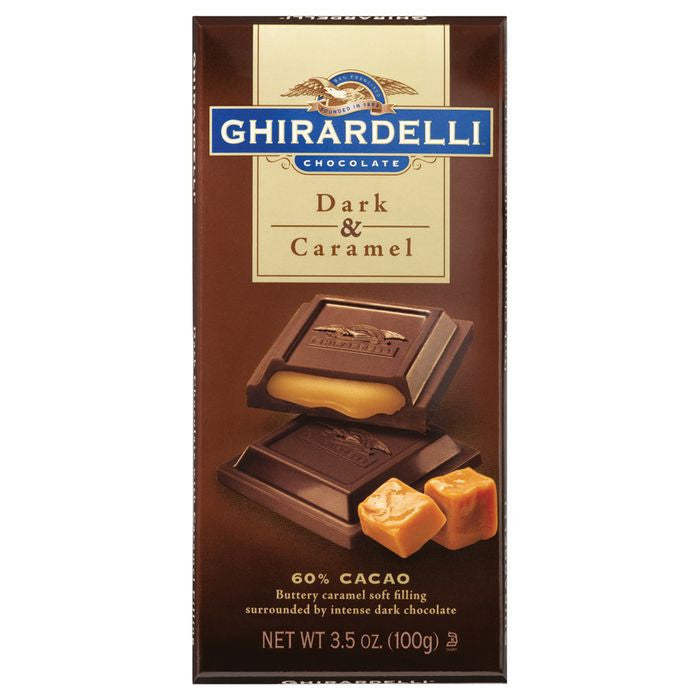 Ghirardelli Chocolate  Dark Chocolate & Caramel 3.5 Oz  (Pack of 12)