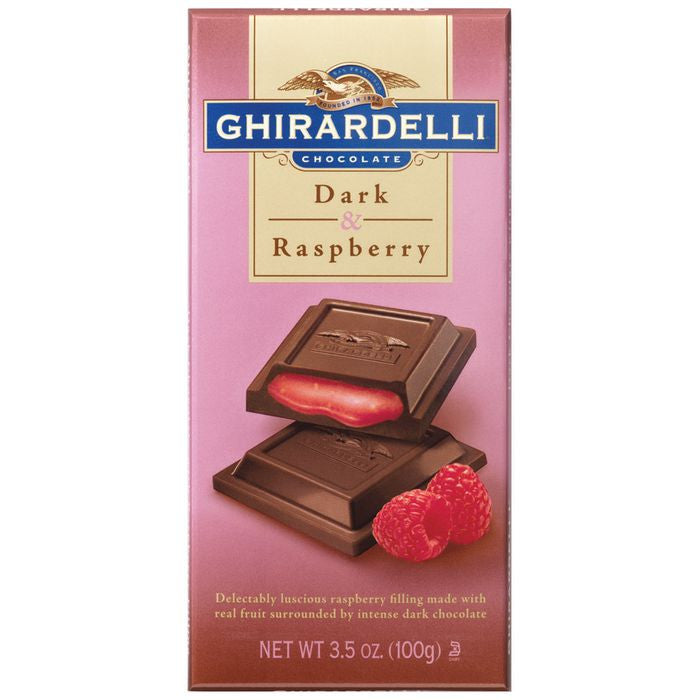 Ghirardelli Chocolate  Dark Chocolate & Raspberry 3.5 Oz  (Pack of 12)