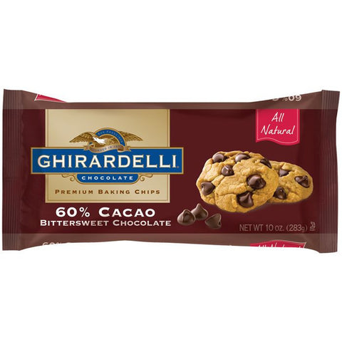 GHIRARDELLI CHOCOLATE 60% Cacoa Bittersweet Chocolate BAKING CHIPS 10 OZ BAG (Pack of 12)