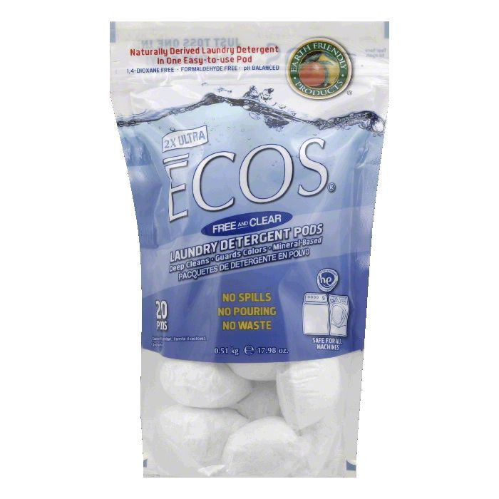 Earth Friendly Free and Clear 2X Ultra Laundry Detergent Pods, 17.98 Oz (Pack of 6)
