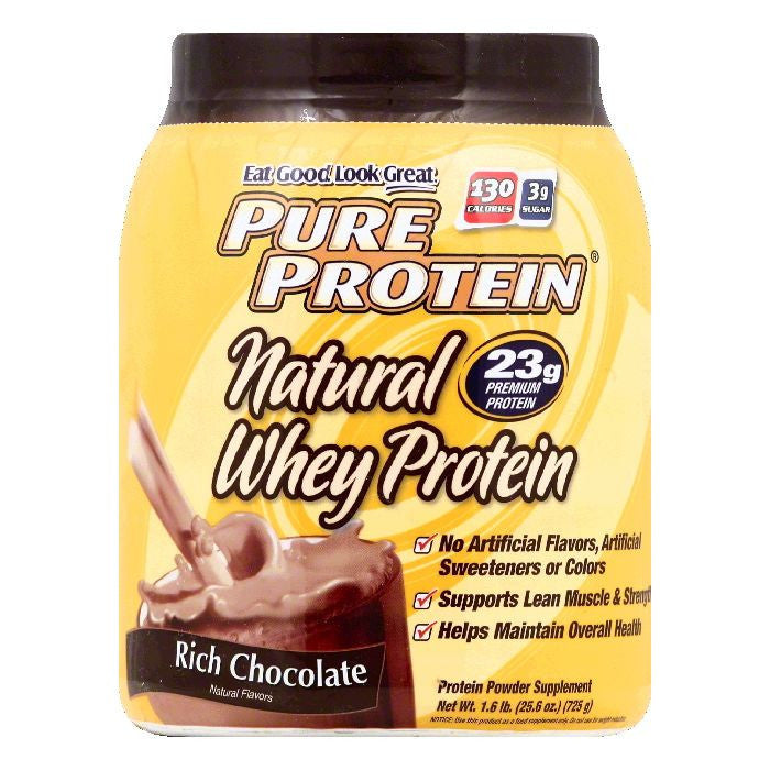 Pure Protein Rich Chocolate Natural Whey Protein, 25.6 OZ
