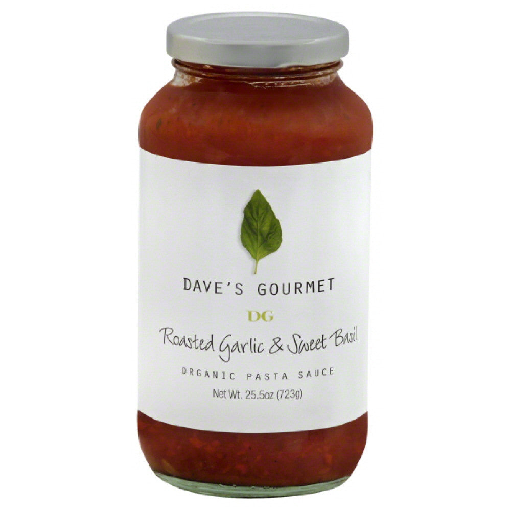 Daves Gourmet Roasted Garlic & Sweet Basil Organic Pasta Sauce, 25.5 Oz (Pack of 6)