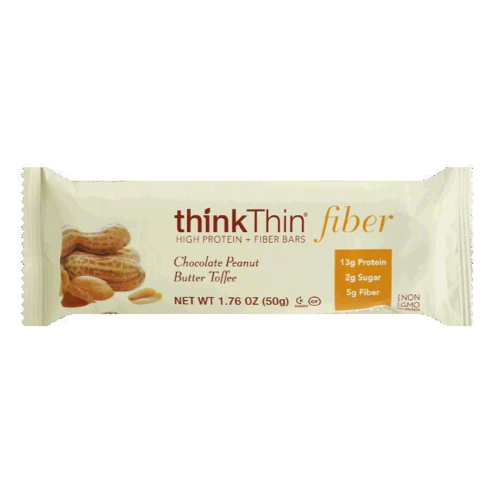thinkThin Chocolate Peanut Butter Toffee Fiber Bar, 1.76 Oz (Pack of 10)