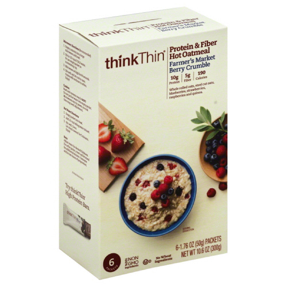 thinkThin Farmer's Market Berry Crumble Protein & Fiber Hot Oatmeal, 10.58 Oz (Pack of 12)