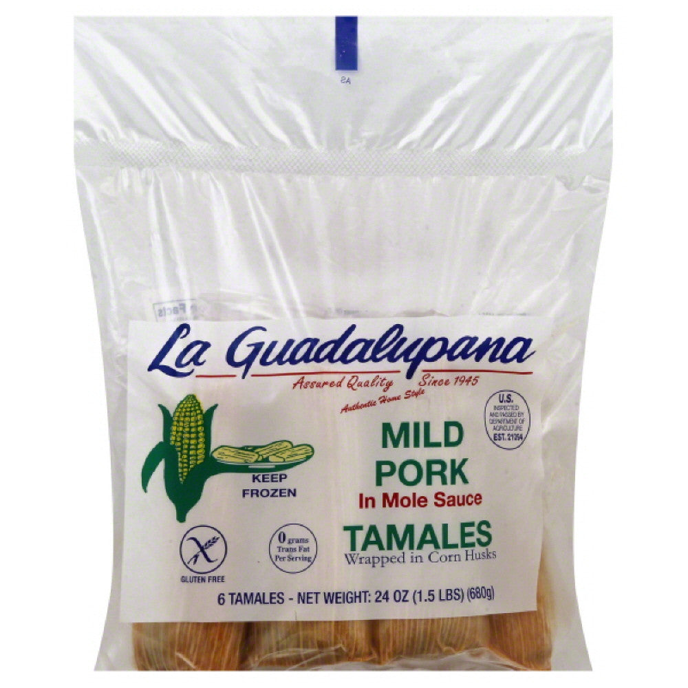La Guadalupana Mild Pork in Mole Sauce Tamales, 24 Oz (Pack of 8)