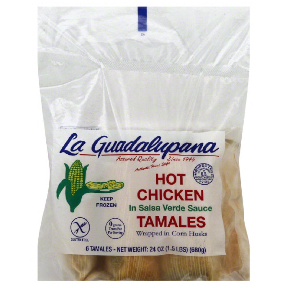 La Guadalupana Hot Chicken Tamales in Salsa Verde Sauce, 24 Oz (Pack of 8)