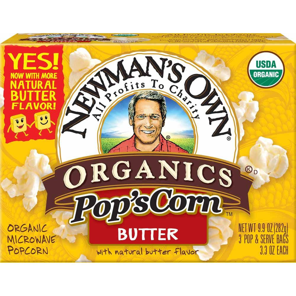 Newmans Own Organics Butter Organic Microwave Popcorn, 3 ea (Pack of 12)