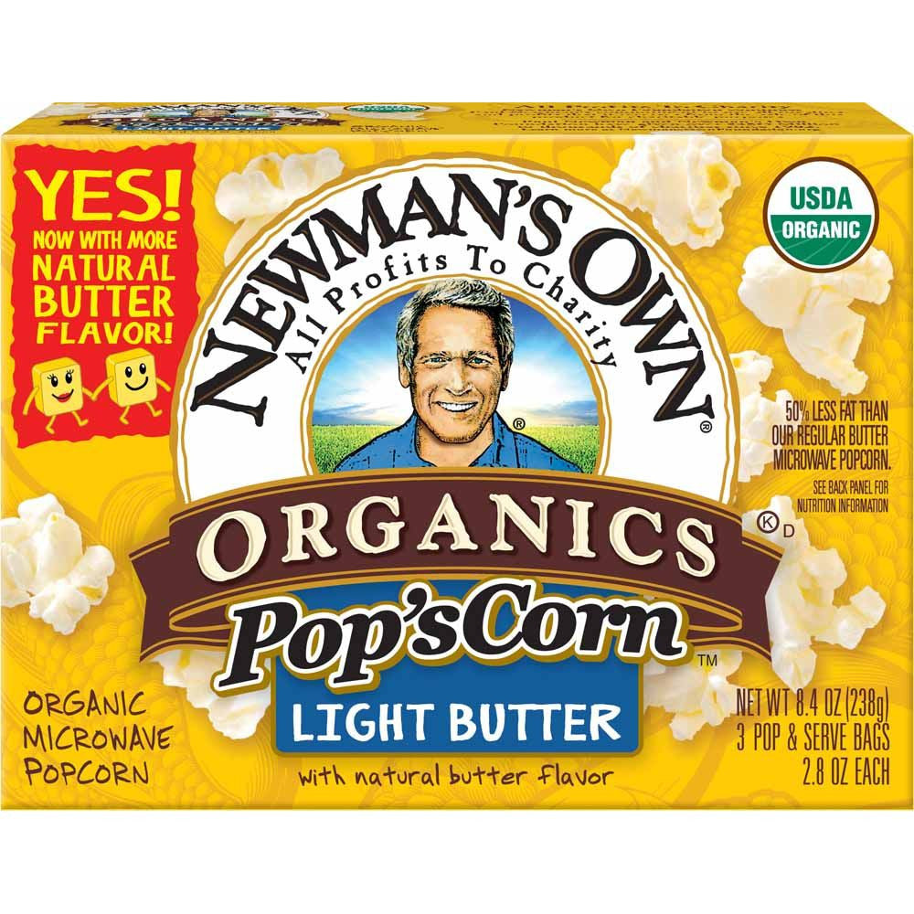 Newmans Own Organics Light Butter Organic Microwave Popcorn, 3 ea (Pack of 12)