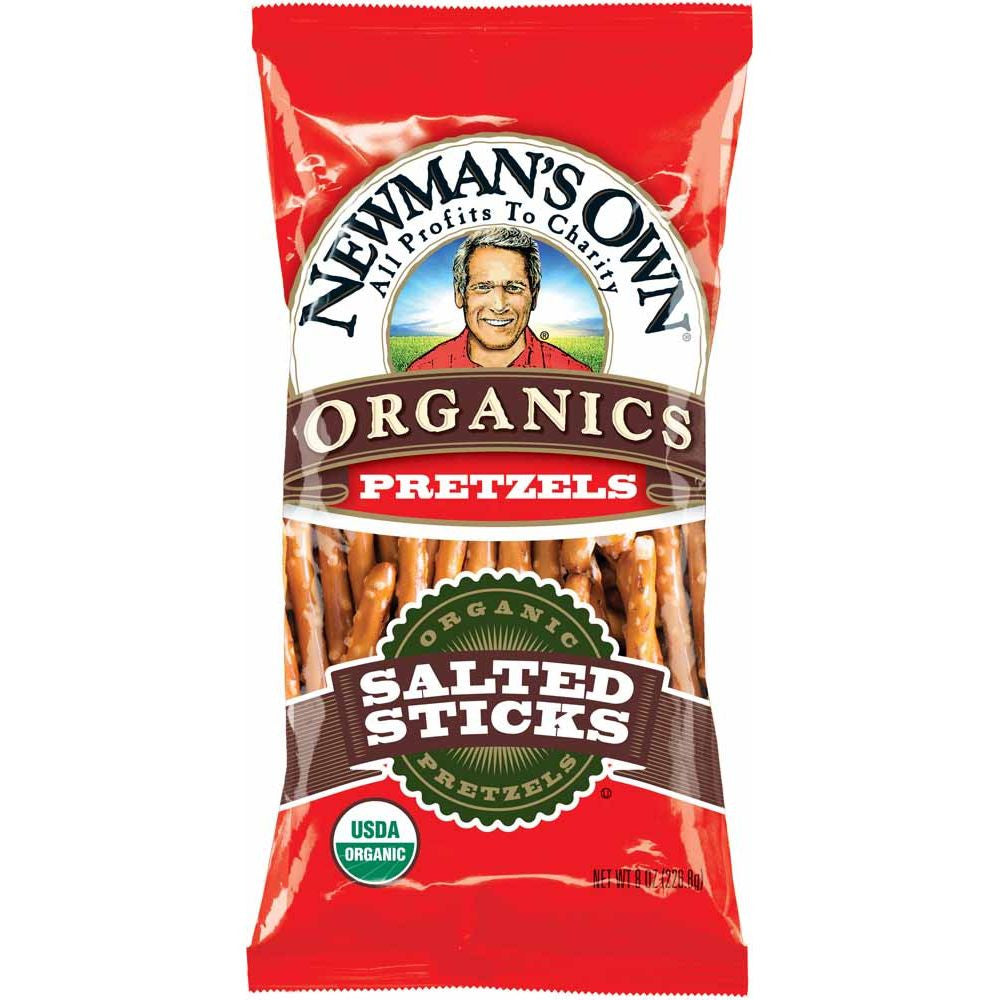 Newmans Own Organics Salted Pretzel Sticks, 8 Oz (Pack of 12)