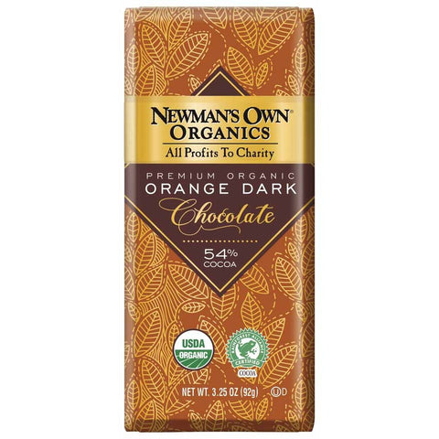Newmans Own Organics 54% Cocoa Orange Dark Chocolate, 3.25 OZ (Pack of 12)