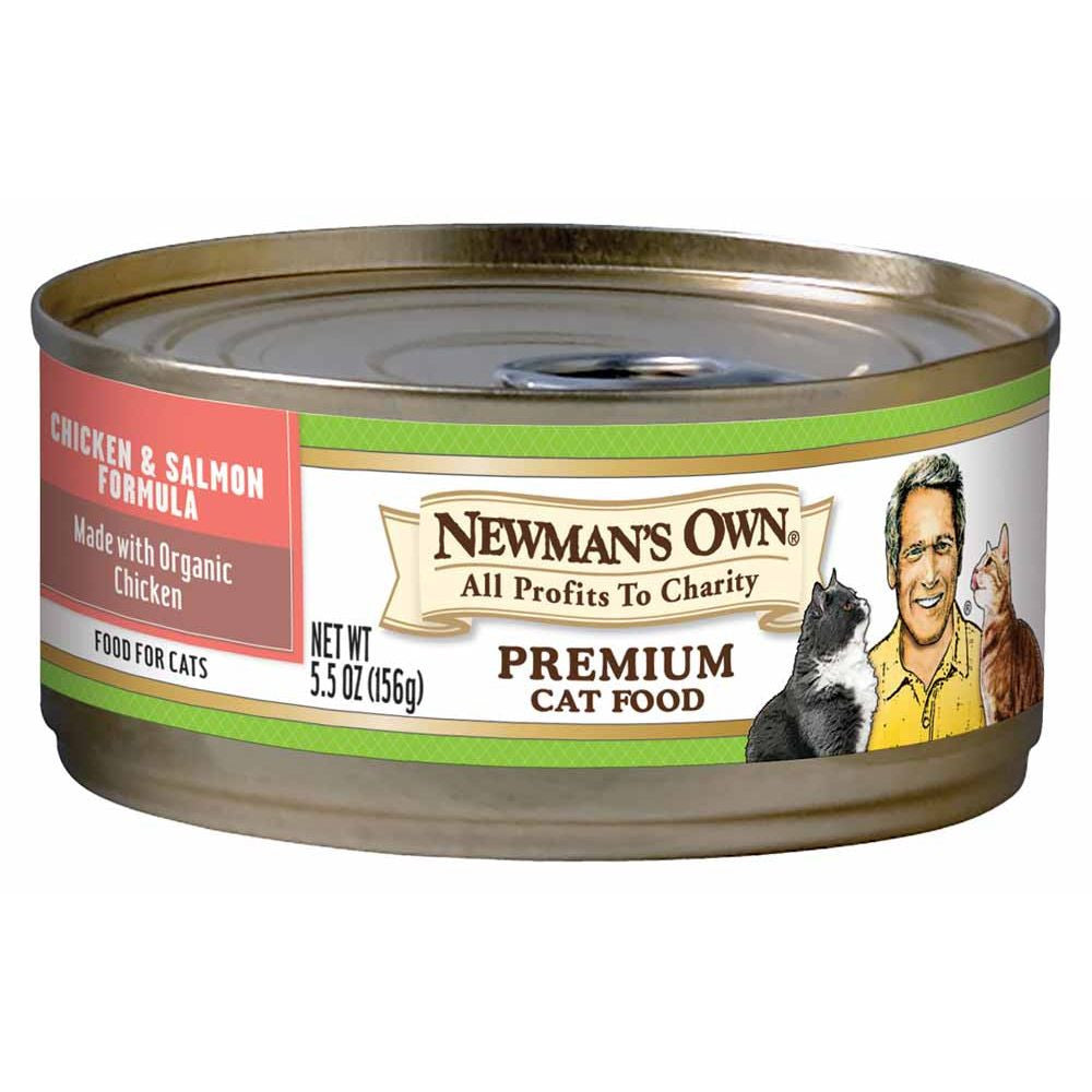 Newman's Own Organics Cat Food Chicken & Salmon Formula Canned, 5.5 OZ (Pack of 24)