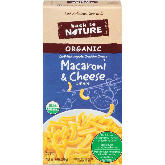 Back to Nature Organic Macaroni & Cheese Dinner 6 Oz  (Pack of 12)