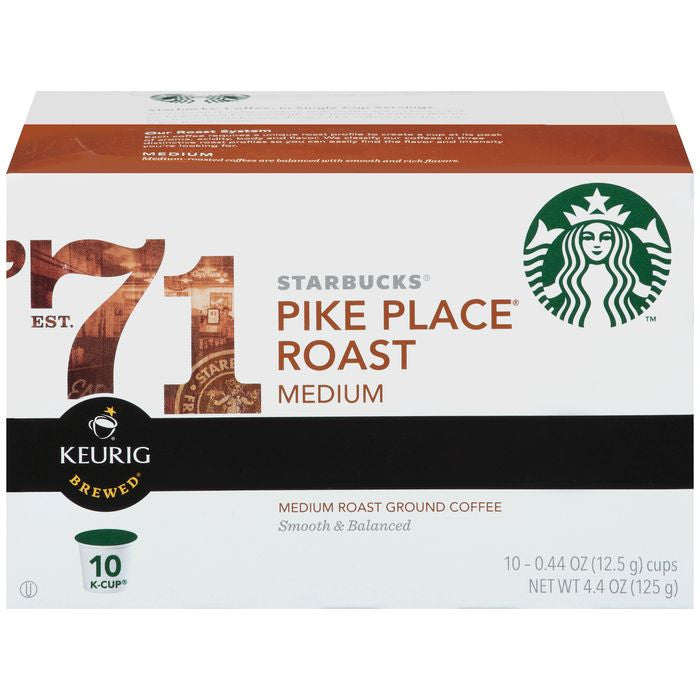 Starbucks Pike Place Roast Ground Coffee 10 K-Cups (Pack of 6)