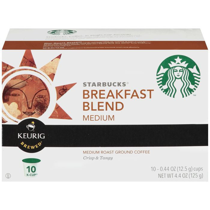 Starbucks Breakfast Blend Medium Roast Ground Coffee 10 K-Cups (Pack of 6)