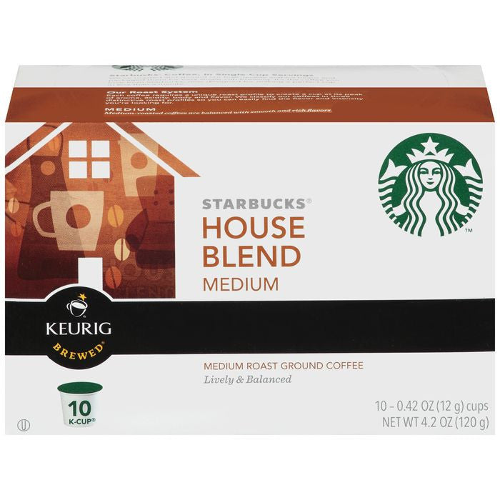 Starbucks House Blend Medium Roast Ground Coffee 10 K-Cups (Pack of 6)