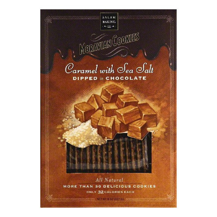 Salem Baking Dipped In Chocolate Caramel With Sea Salt Moravian Cookies, 8 OZ (Pack of 6)
