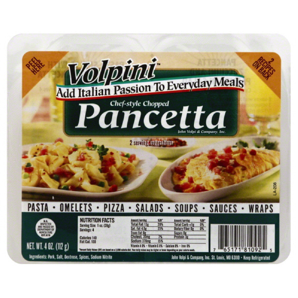 Volpini Chef-Style Chopped Pancetta, 4 Oz (Pack of 8)