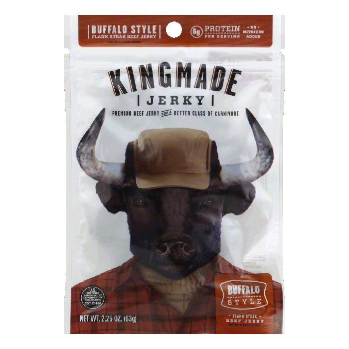 Kingmade Jerky Buffalo Style, 2.25 OZ (Pack of 8)