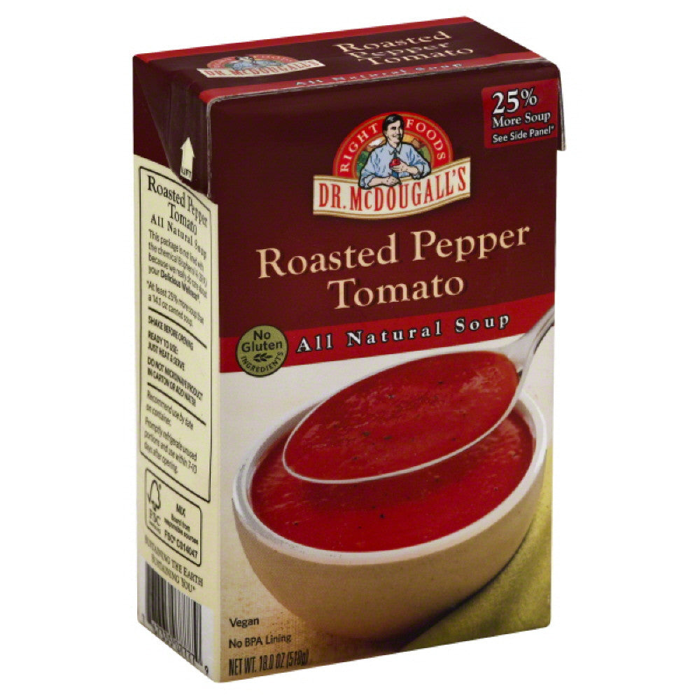 Dr McDougalls Roasted Pepper Tomato All Natural Soup, 18 Oz (Pack of 6)