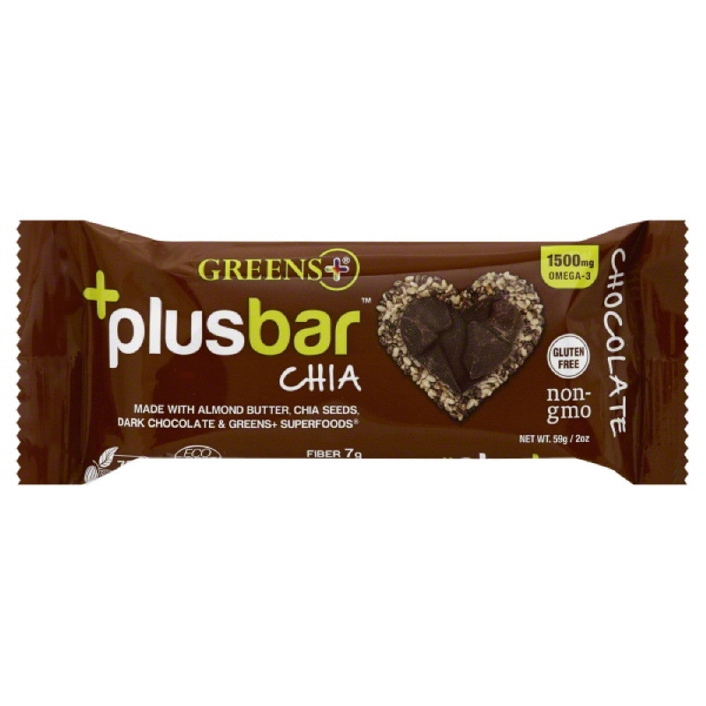 Greens+ Chocolate Chia Plus Bar, 2 Oz (Pack of 12)