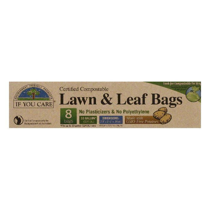If You Care 33 Gallon Certified Compostable Lawn & Leaf Bags, 8 BG