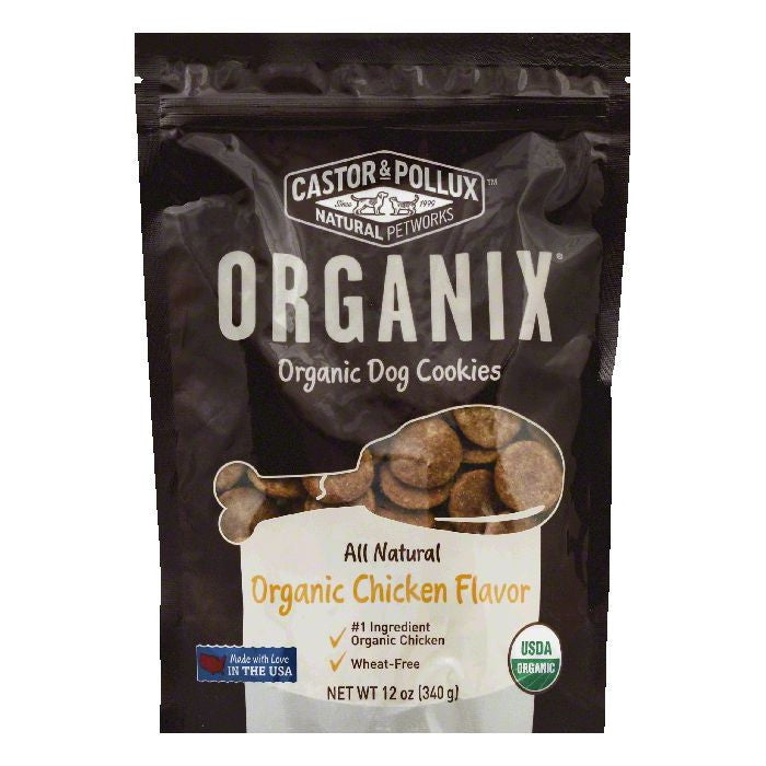 Castor & Pollux Organic Chicken Flavor Dog Cookies, 12 OZ (Pack of 8)