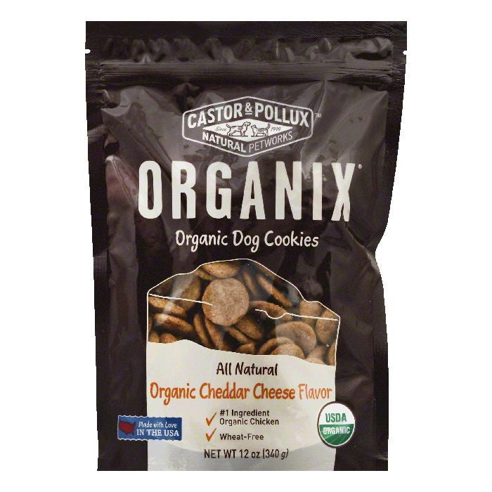Castor & Pollux Organic Cheddar Cheese Flavor Dog Cookies, 12 OZ (Pack of 8)