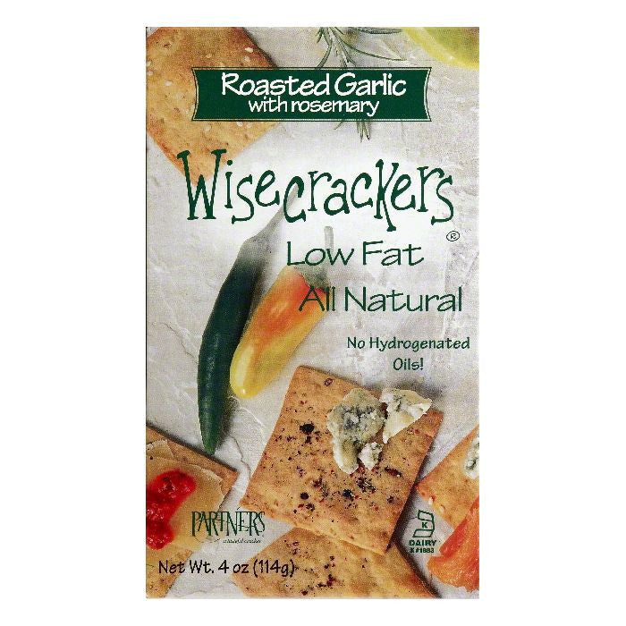 Partners Roasted Garlic with Rosemary Wisecrackers, 4 OZ (Pack of 6)