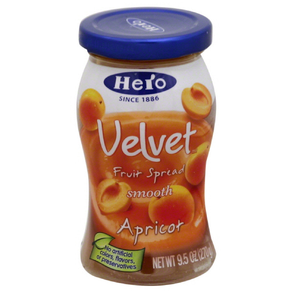 Hero Apricot Smooth Fruit Spread, 9.5 Oz (Pack of 8)