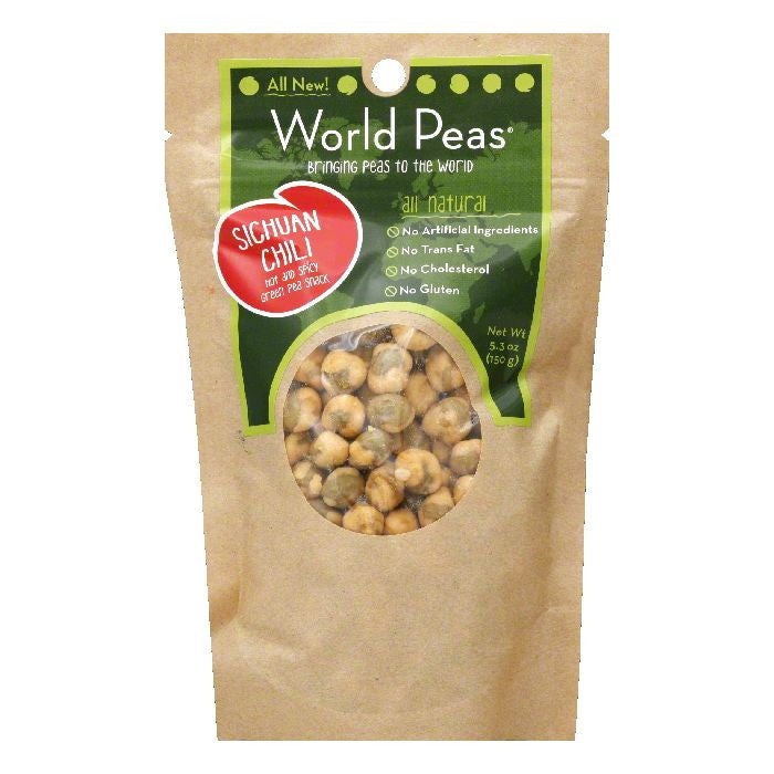 World Peas Hot & Spicy Sichuan Chili Green Pea Snack, 5.3 OZ (Pack of 6)