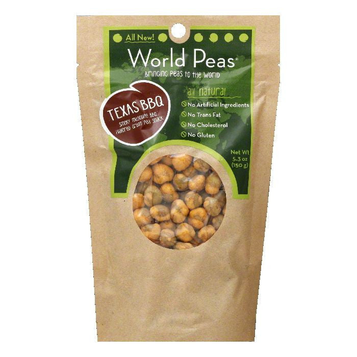 World Peas Texas BBQ Green Pea Snack, 5.3 OZ (Pack of 6)