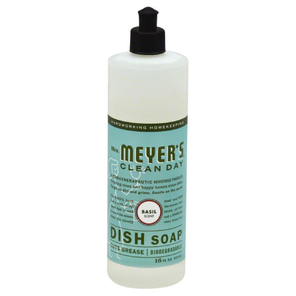 Mrs Meyers Basil Scent Liquid Dish Soap, 16 Oz