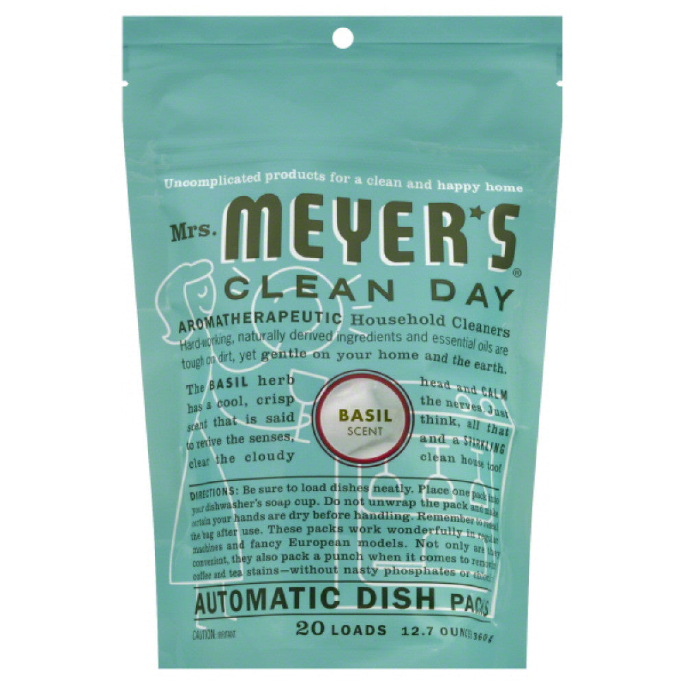 Mrs Meyers Basil Scent Automatic Dish Packs, 12.7 Oz (Pack of 6)