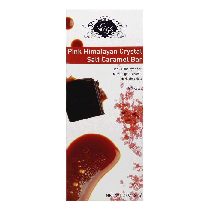 Vosges Pink Himalayan Crystal Salt Caramel Bar, 3 Oz (Pack of 12)