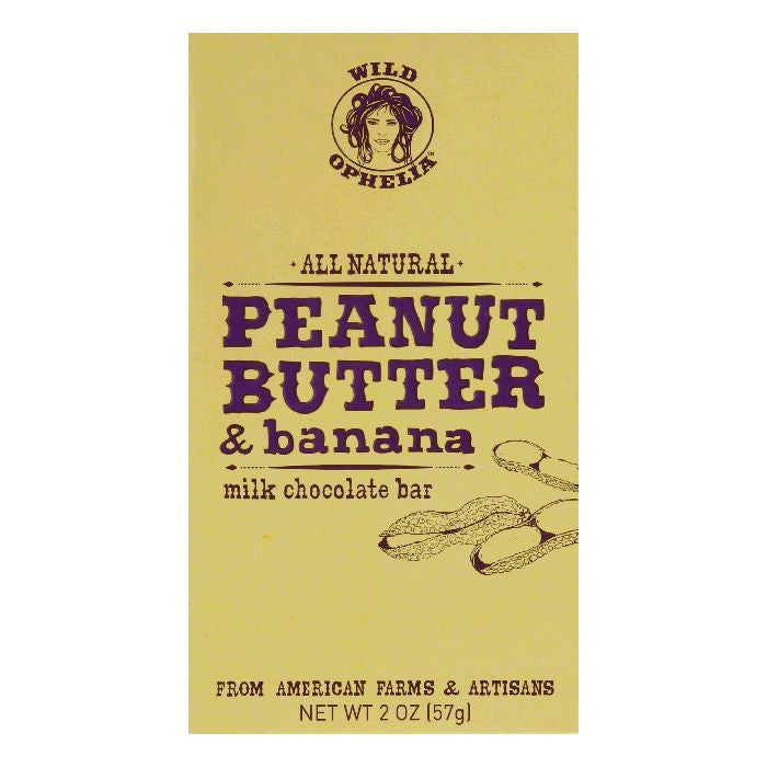 Wild Ophelia Pnut and Bananna Milk Chocolate Bar, 2 OZ (Pack of 12)