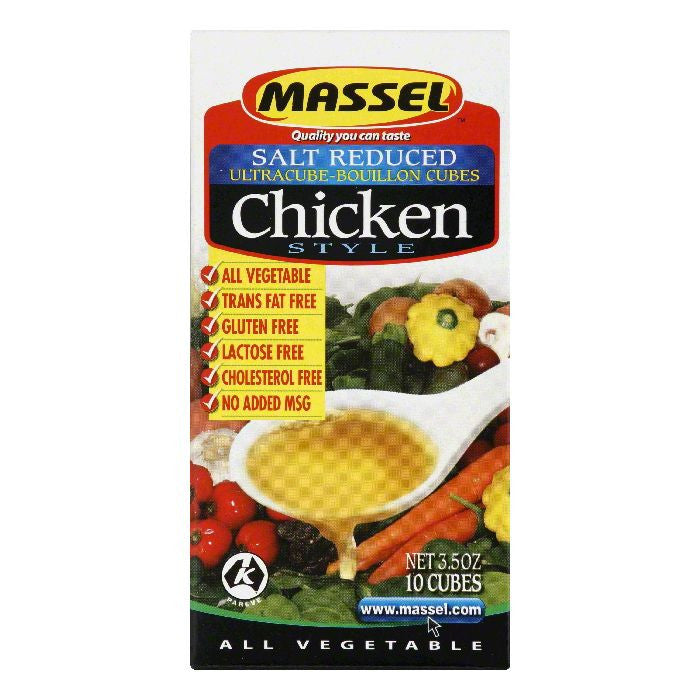 Massel Salt Reduced Chicken Style Ultracube-Bouillon Cubes, 3.5 Oz (Pack of 12)