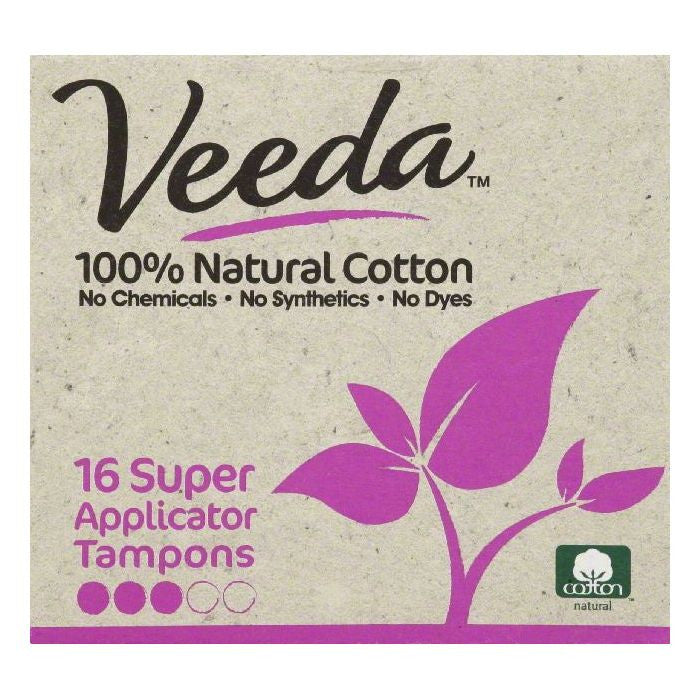 Veeda Applicator Super Tampons, 16 ea (Pack of 3)