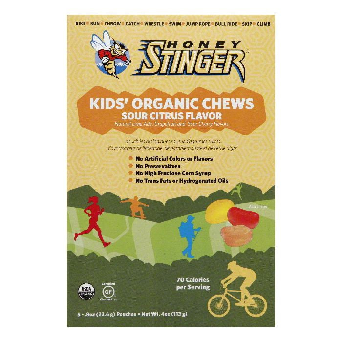 Honey Stinger Kids' Sour Citrus Flavor Organic Chews, 4 Oz