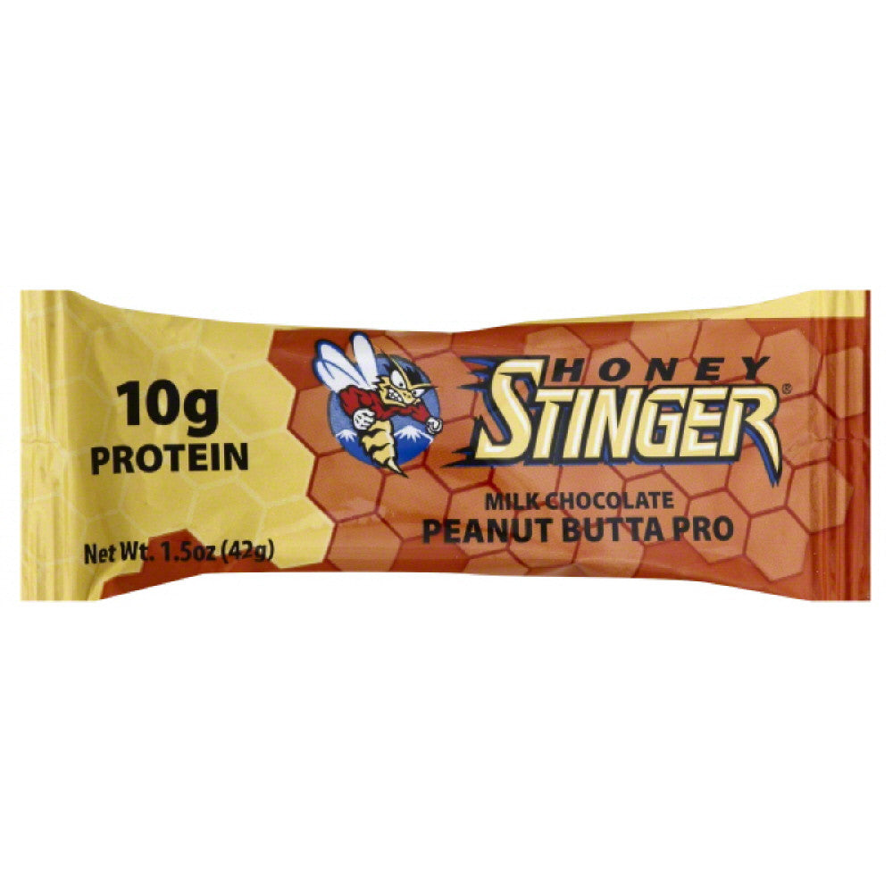 Honey Stinger Peanut Butter Pro Milk Chocolate Protein Bar, 1.5 Oz (Pack of 15)